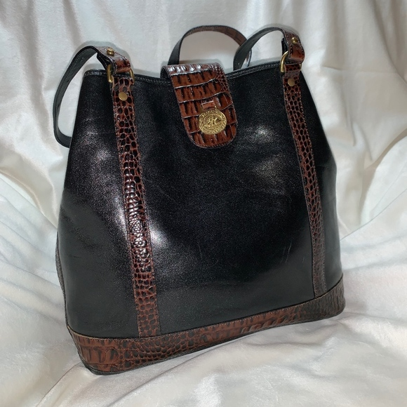 Brahmin Handbags - Vintage Brahmin Black & Brown Leather Shoulder Bag